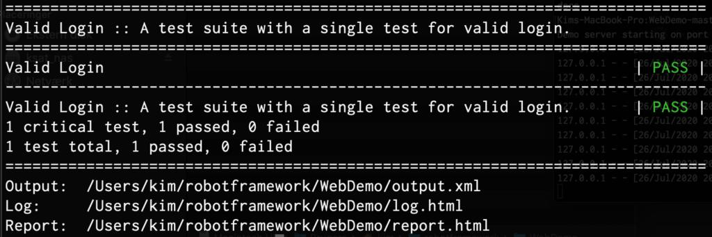 Robot Framework test run console output