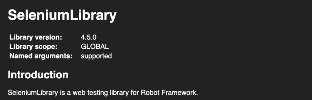 robot framework seleniumlibrary version 4